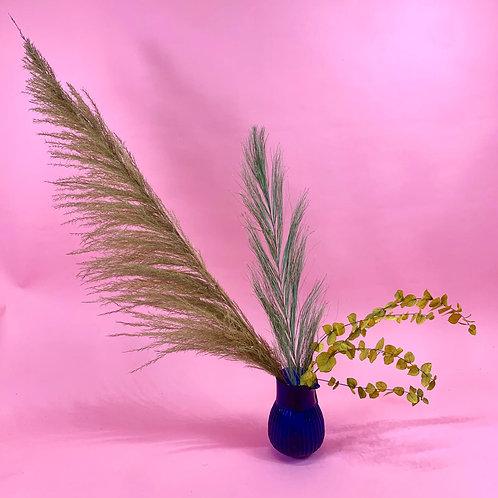Pink Ridged Vase & Dried Flowers