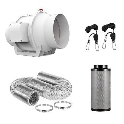 Kit de extractor, ductos y filtro de aire de carbón activado de 4 pulgadas. 220V
