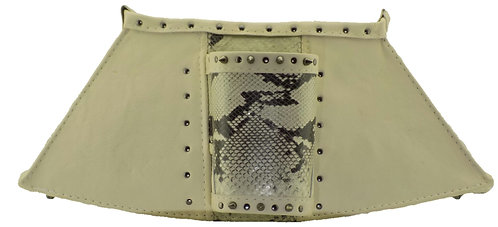 Ivory / Gray Leather w. Snake Print Leather  - Cuff