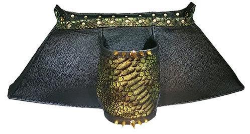 Black Leather & Green Gold Metallic Leather - Cuff