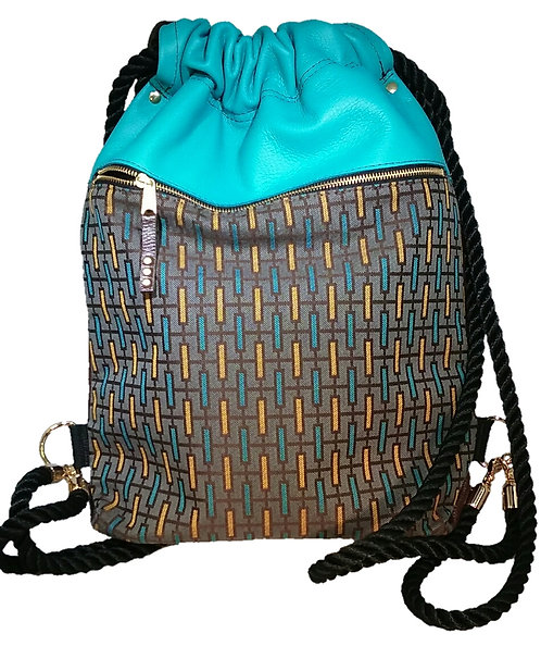 Turquoise Leather Multi Print Cloth