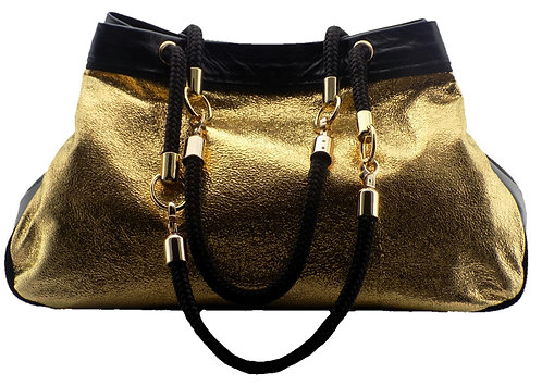 Sold Gold Metallic-Oil Black Leather