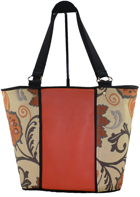 Orange Leather Floral Cloth