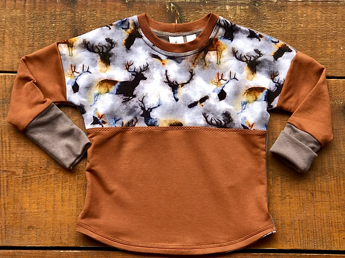 12m to 3 year Buck Wild Dolman Pull Over (Grow-with-me)