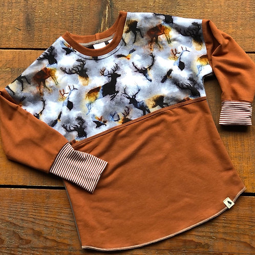 3 - 6 year Buck Wild Dolman Pull Over (Grow-with-me)