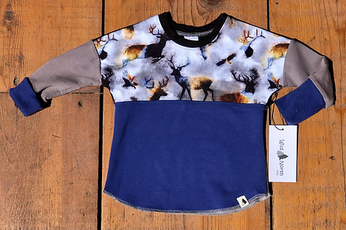 3-12 month Buck Wild Dolman Pull Over (Grow-with-me)