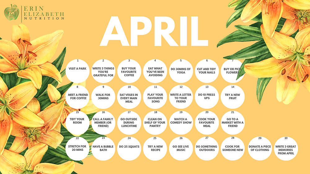 April Well-being Calender