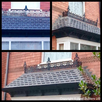 Fascia, soffit and gutter replacement in a black round finish and Decorative Lead work over a 3 side