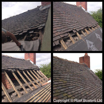 We have change the lath and felt and relaid the original Staffordshire blue clay tiles to finish.