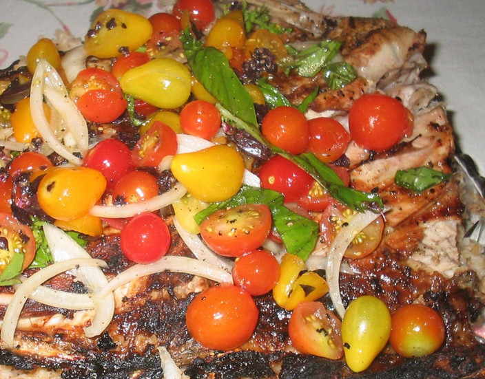 Grilled Halibut & Italian Salsa