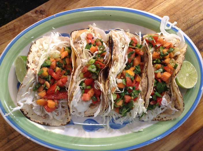 Yellowtail Fish Taco & Papaya Salsa!