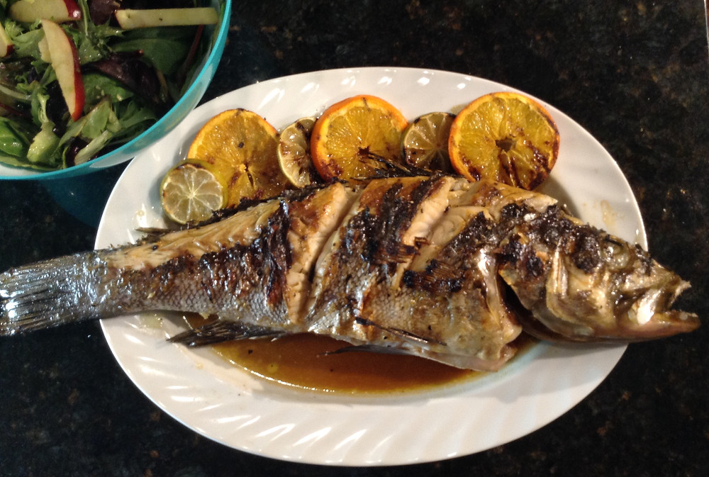 grilled whole calico bass