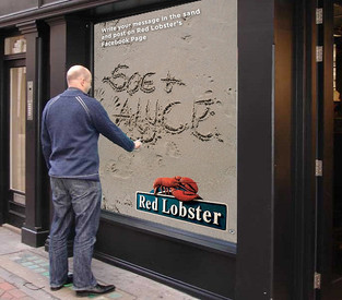 Red Lobster Interactive Sand Writing Wall