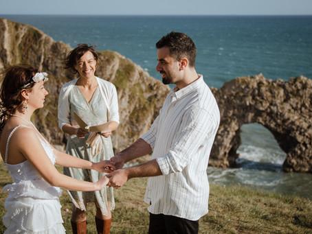 Seaside elopement wedding at Durdle Door