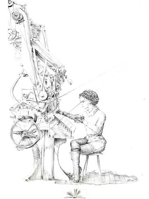 The Typist Illustration Print