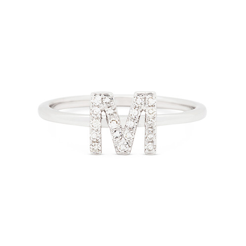 14k Gold Name Initial Letter M Studded With Diamonds