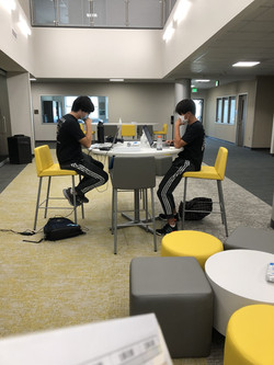 Greg and Evan Studying