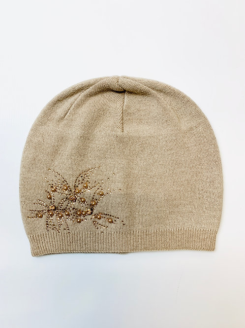 Cashmere Blend Beanie Hat, Taupe