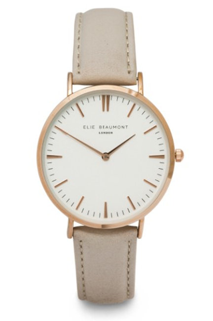 Pale Grey Round Faced Watch With Leather Strap