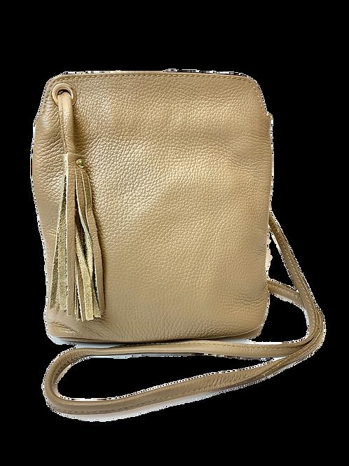 Crossbody Leather Tassel Handbag, Taupe