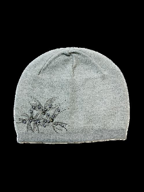 Cashmere Blend Beanie Hat, Grey