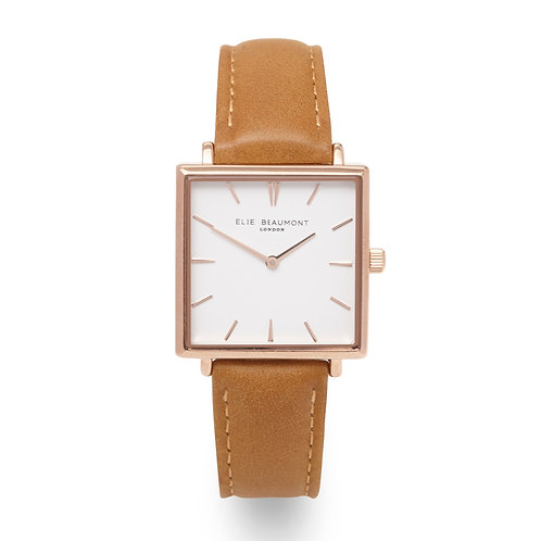 Tan Square Faced Watch With Leather Strap