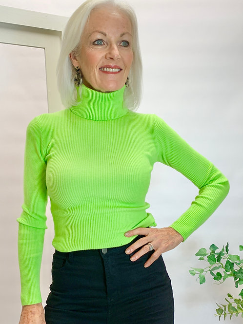 Neon Green Roll Neck Jumper