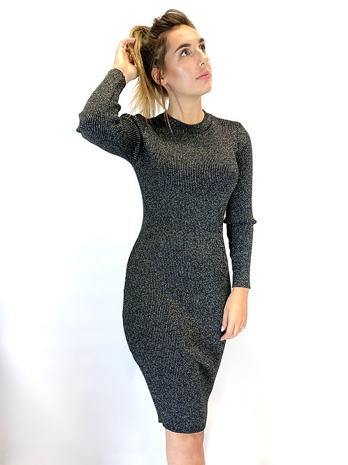 Sparkly Knitted Dress, Black