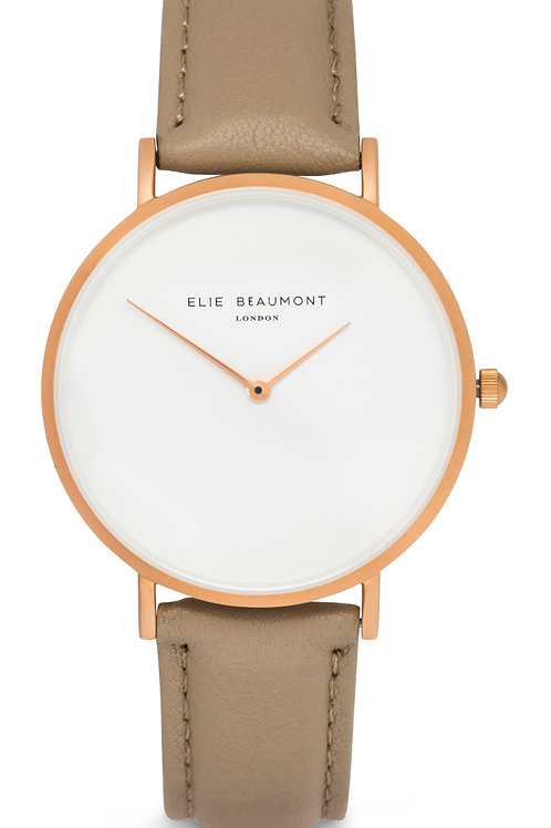Brown Round Faced Watch With Leather Strap
