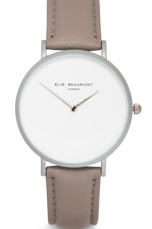 Taupe Round Faced Watch With Leather Strap