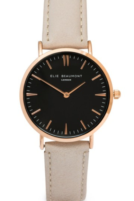 Beige Round Faced Watch With Leather Strap