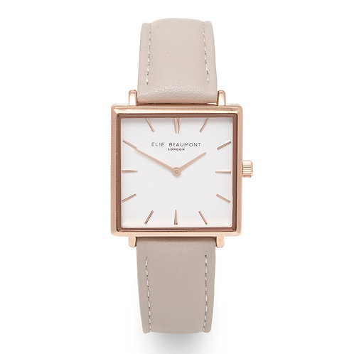 Beige Square Faced Watch With Leather Strap