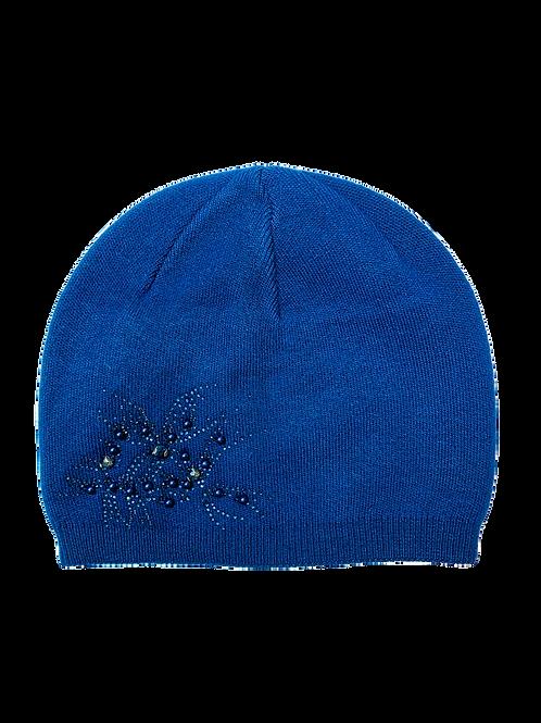 Cashmere Blend Beanie Hat, Navy Blue