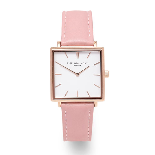 Pink Sqaure Faced Watch With Leather Strap