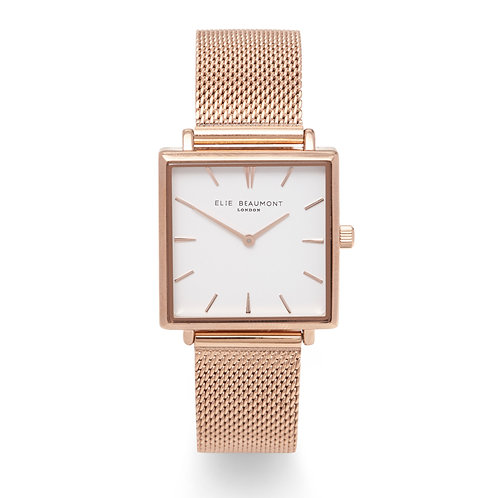 RoseGold Square Faced Watch With Mesh Strap