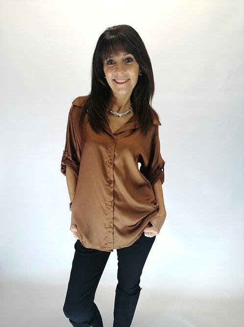 Camel Satin Shirt