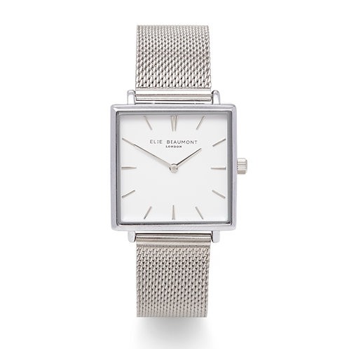 Silver Square Faced Watch With Mesh Strap