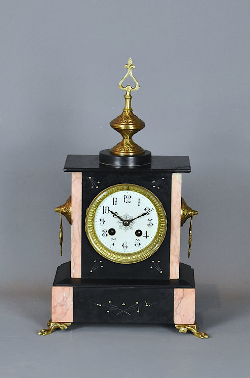 French Antique Slate & Marble Mantel Clock