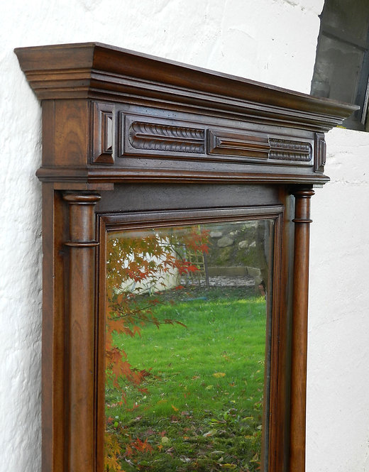 French Antique Overmantle Mirror C1890 in Walnut Henri II Style