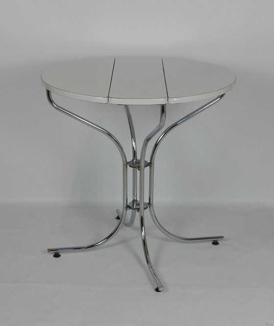 1970's White & Chrome Drop-Leaf Table