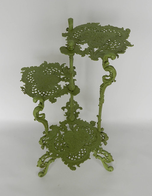 French Art Nouveau Cast Iron Three Tier Plant Stan