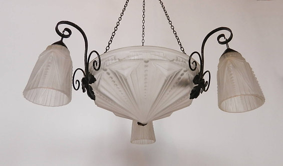 French Art Deco Ceiling Light Chandelier with Three Tulip Shades