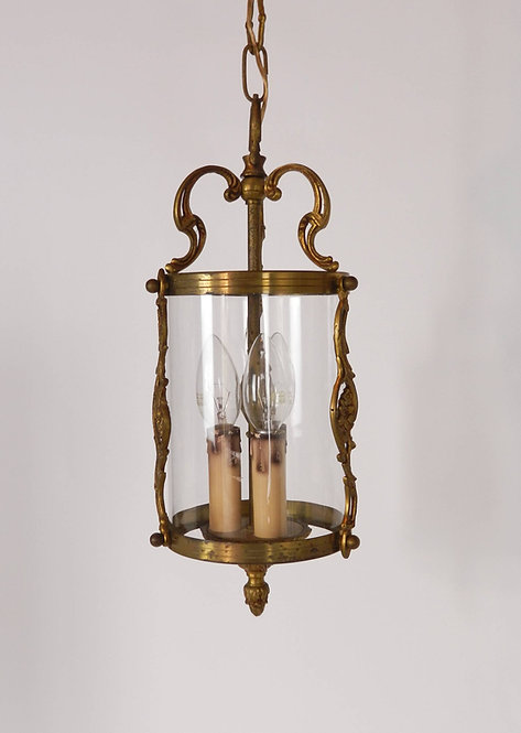 French Brass Triple Light Hall Lantern