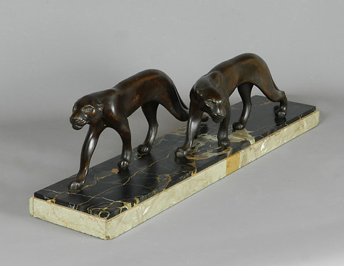 Large French Art Deco Sculpture of a Pair of Panthers by M Font