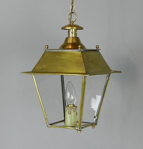 French Glazed Brass Hanging Lantern