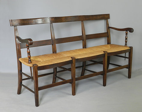 Antique French Rush Seated Settle Bench
