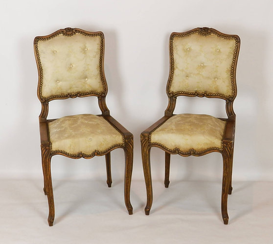 Pair of Pretty French Silk-upholstered Side Chairs