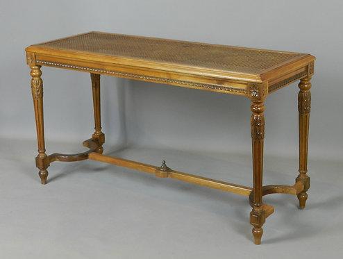 French Louis XVI Style Caned Walnut Bench / Window Seat