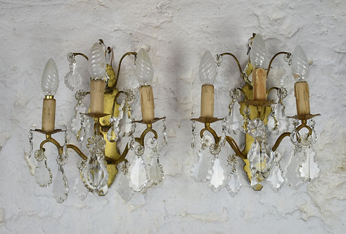 Pair French Brass Wall Sconces Light