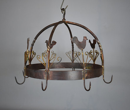 Decorative French Kitchen Wrought Iron Pot Rack